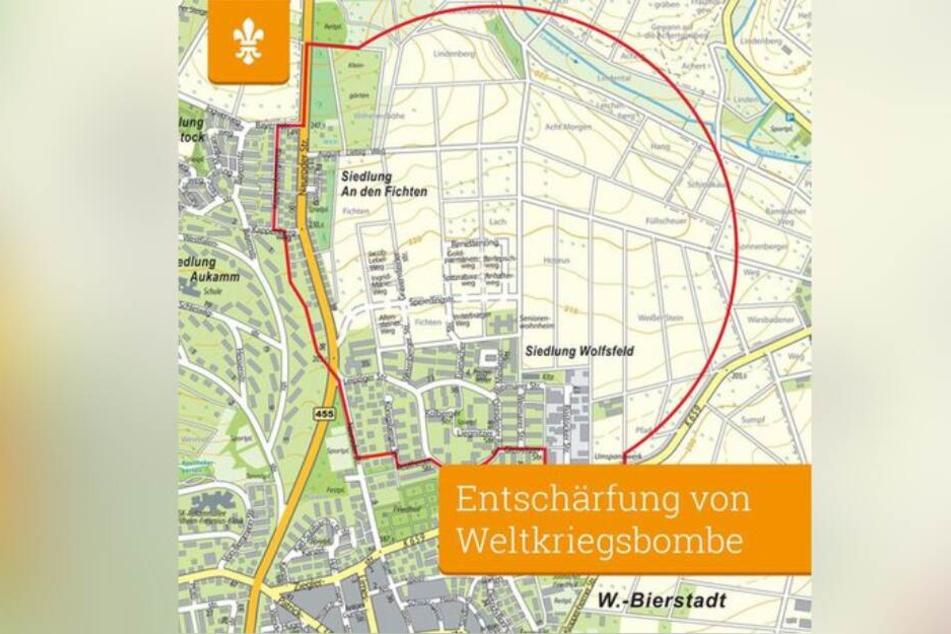 Die Grafik zeigt den Bereich, der für die Entschärfung der Bombe evakuiert wird.