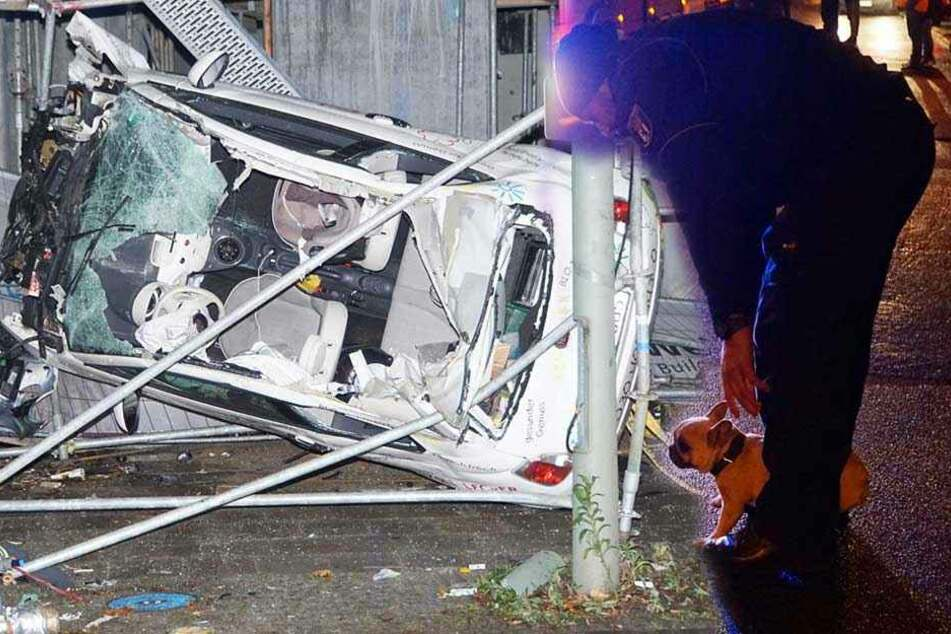 Auto steckt in Baugerüst, Polizei findet Welpe am Unfallort