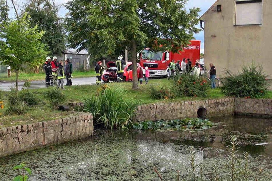 Zuerst befreite die Feuerwehr die eingeklemmte Frau aus ihrem Auto. Sann zogen die Kameraden den demolierten Wagen aus dem Teich.