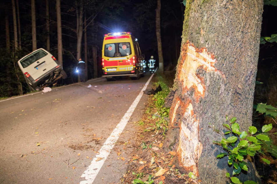 Der Transporter krachte zuerst gegen einen Baum.
