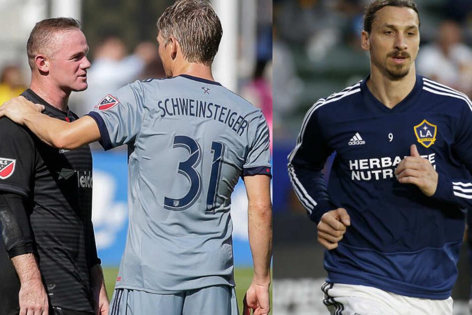 Auf diese Stars trifft der Berliner nun. Links Manchester United-Legende Wayne Rooney, mittig Weltmeister Bastian Schweinsteiger und rechts, Weltstar Zlatan Ibrahimovic. (Bildmontage)