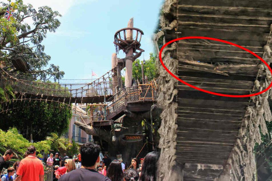 Wieder Unfall in Disneyland: Besucher will zeigen, wie stabil Hängebrücke ist, dann passiert's