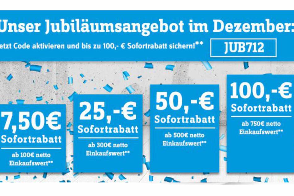 """Mit dem Code """"JUB712"""" erhaltet Ihr je nach Einkaufswert bis zu 100 Euro Sofortrabatt!"""