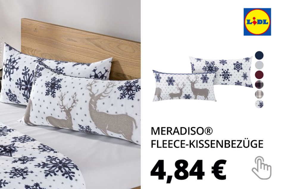 MERADISO® Mikorfaser-Fleece-Kissenbezüge, 2 Stück, 40 x 80 cm