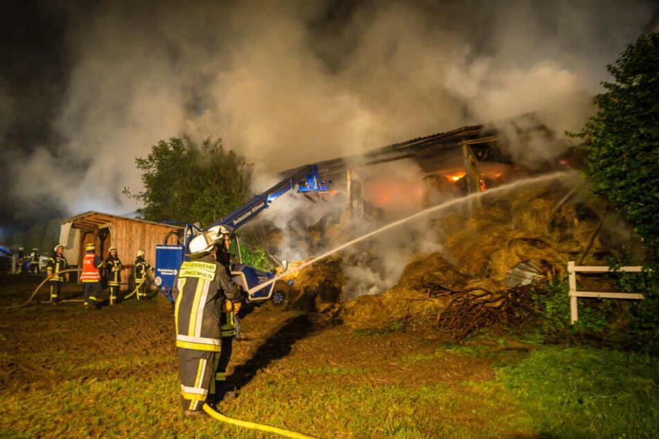 Eine Million Euro Schaden: Reiterhof steht noch immer in Flammen