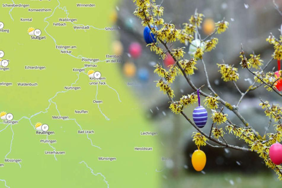 Die Suche nach Ostereiern kann am Sonntag immer wieder mal von regen unterbrochen werden. (Fotomontage/Symbolbild)