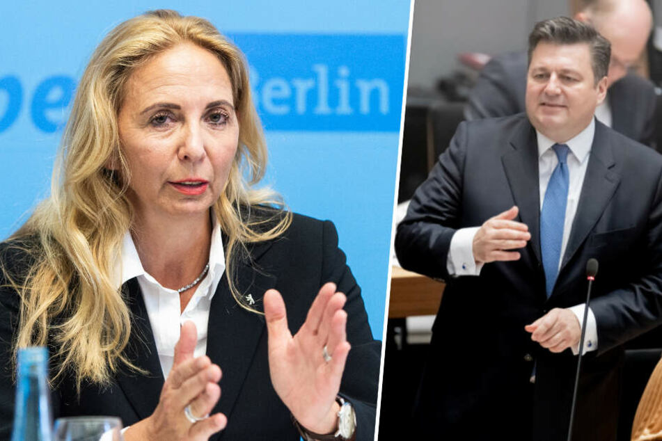 Stellen die Kriminalitätsstatistik vor: Polizeipräsidentin Barbara Slowik (l.) und Berlins Innensenator Andreas Geisel (r.).