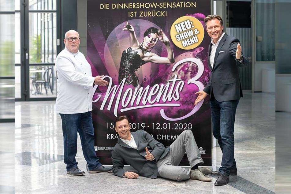 """Küchenchef Andreas Kirsch (59, v.l.), der künstlerische Leiter Guido Gentzel (41) und Veranstalter Mirco Meinel (47) freuen sich auf """"Moments 3""""."""