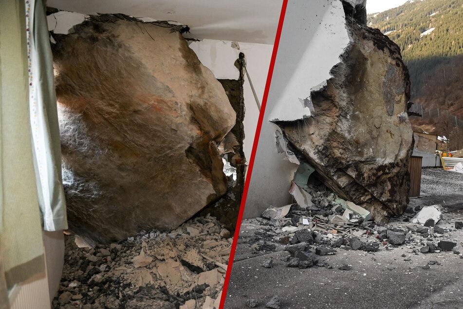 Nächtlicher Horror in Tirol: Hier steckt ein riesiger Felsbrocken im Haus