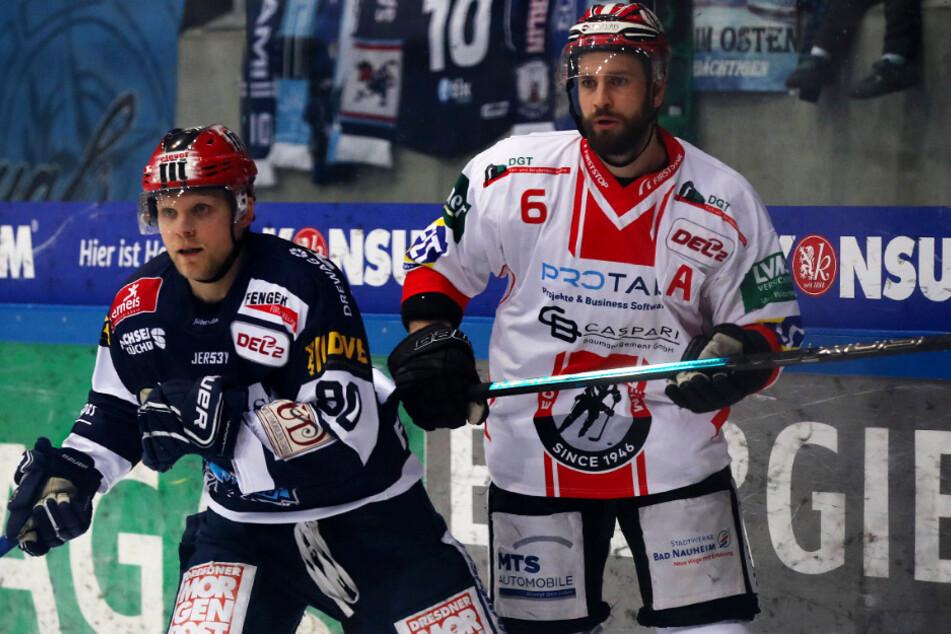 Im letzten Saison-Spiel gegen Bad Nauheim war auch für Mario Lamoureux (l.) Schluss. Er konnte wegen einer Oberkörperverletzung nicht weiterspielen.