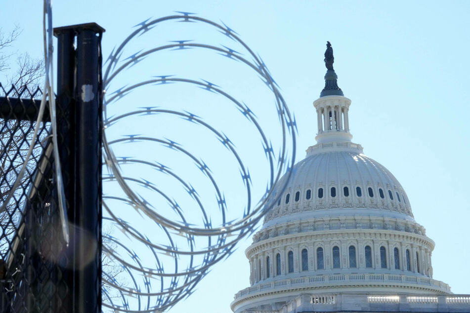 Fencing and razor wire surround the US Capitol leading up to the possible threat of violence on March 4.