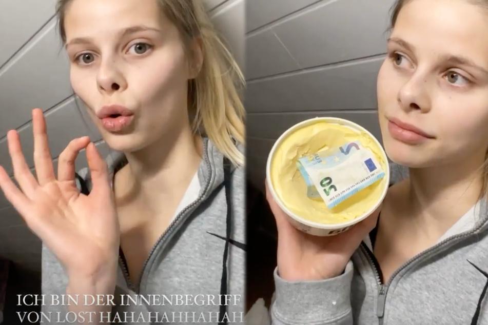 """""""Ich weiß nicht, was ich dazu sagen soll"""", kommentierte Larissa Neumann (20) den Fund in der Margarine-Dose."""