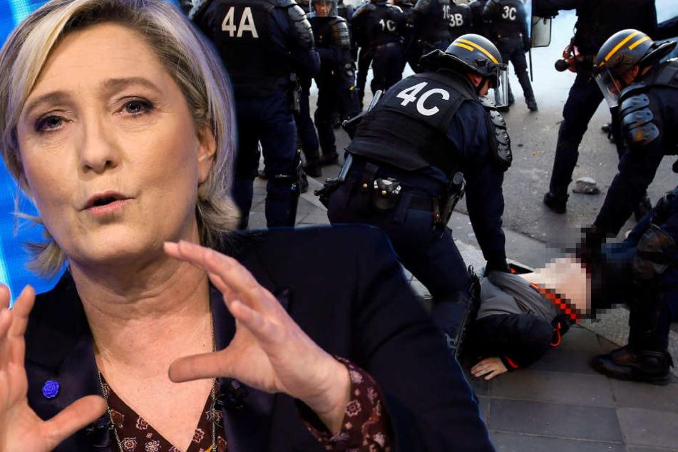 Wegen Marine Le Pens (48) Wahlkampftreffen kam es in Nantes zu Krawallen.