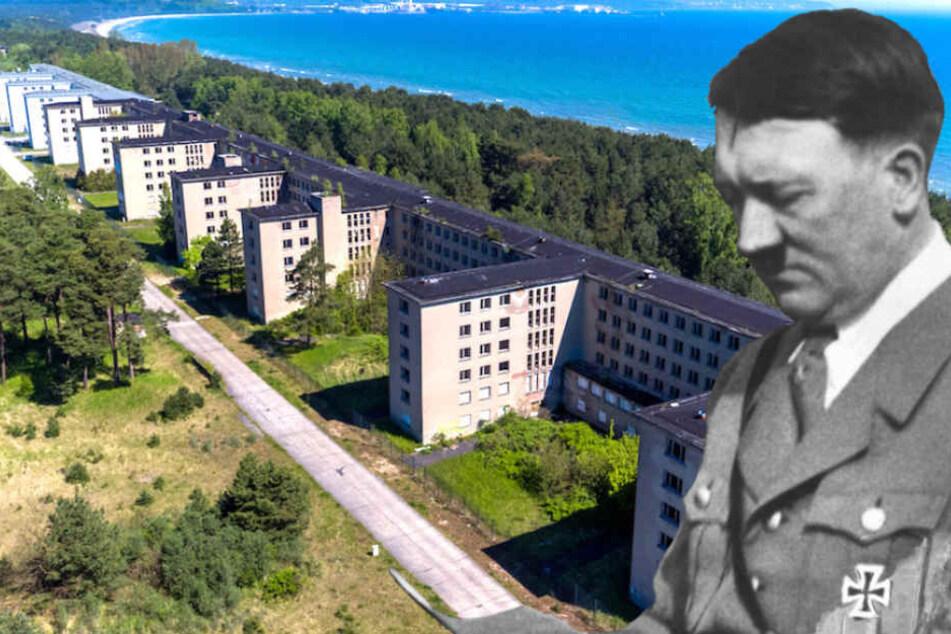Die von Diktator Adolf Hitler (†56) gewünschte Ferienanlage soll jetzt Erholungsort werden. (Bildmontage)