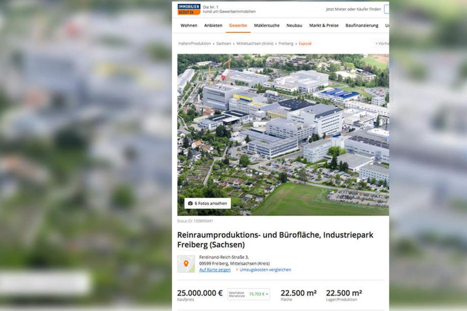 Auf immobilienscout24.de stehen Teile von Solarworld zum Verkauf.