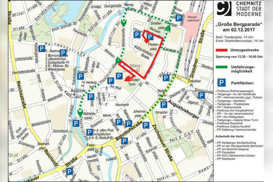 Für die Bergparade müssen in der Innenstadt zahlreiche Straßen gesperrt werden.