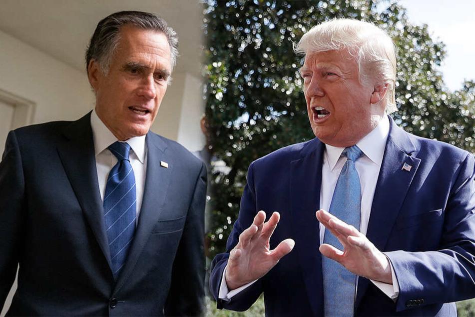 """Derbe Beleidigung auf Twitter: Donald Trump bezeichnet Mitt Romney als """"wichtigtuerischen Arsch""""."""