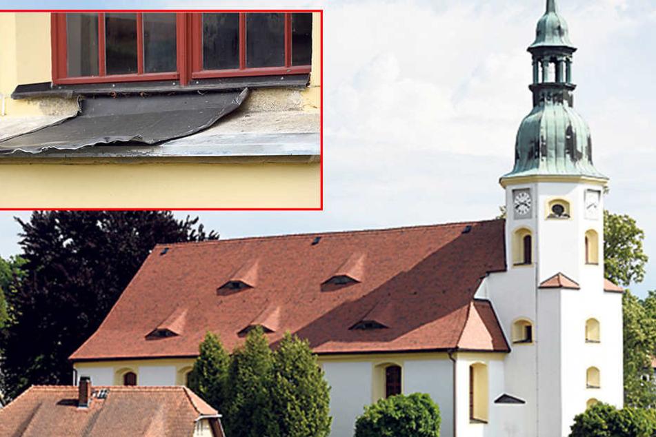 Dreister Kirchenklau! Fensterbleche weg
