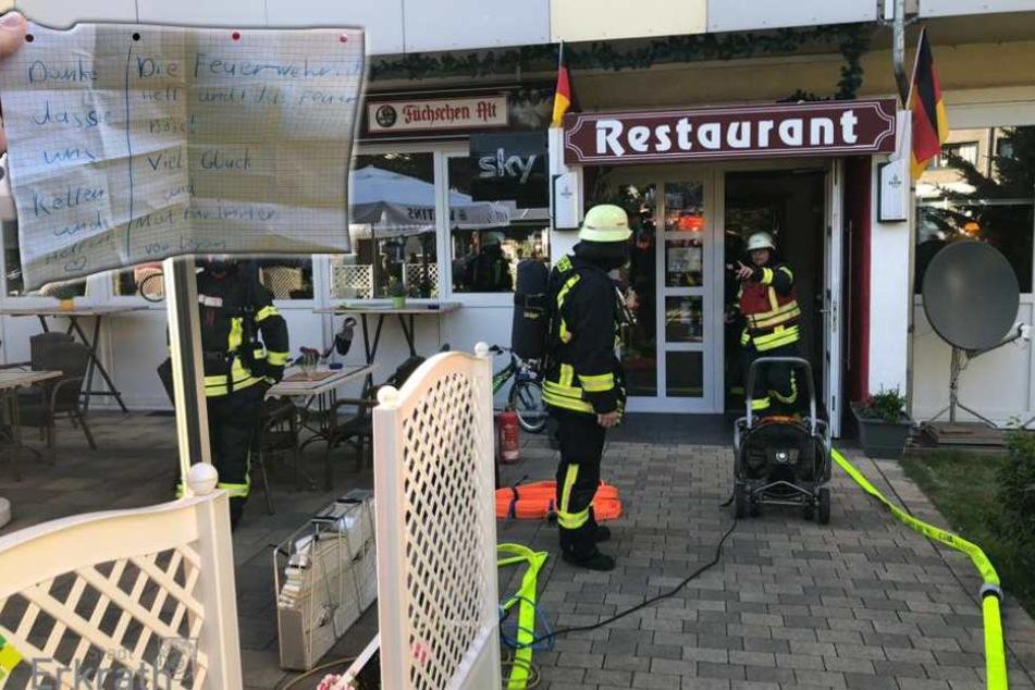 Nach Restaurant-Brand: Mädchen bedankt sich bei der Feuerwehr