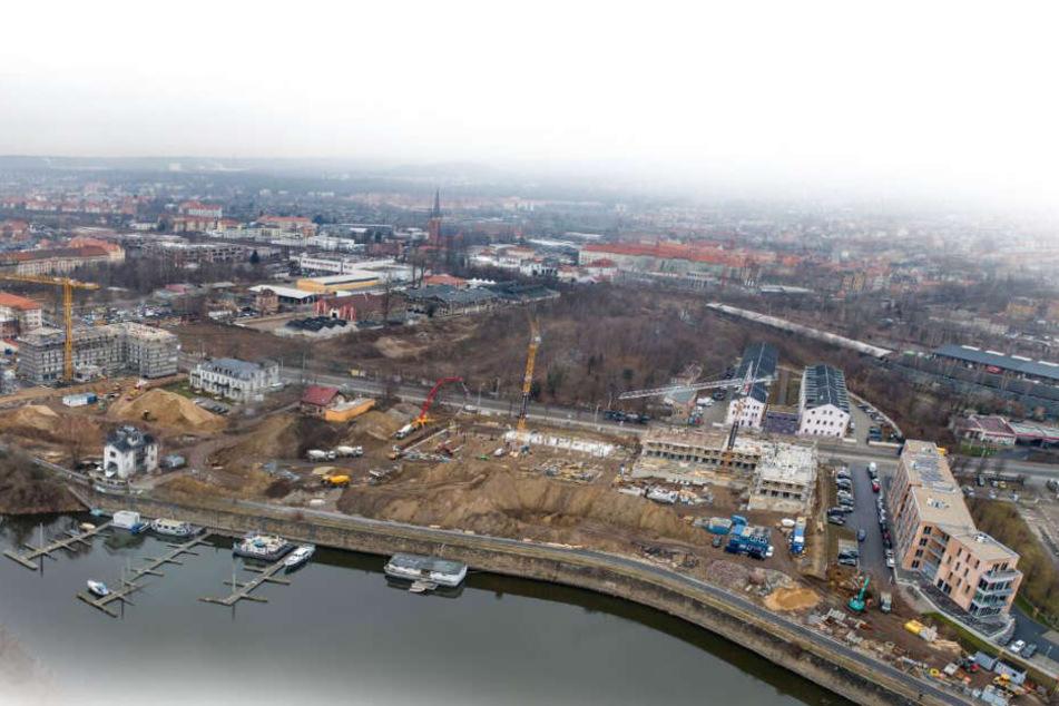 """Die Baustelle """"Hafencity"""" aus der Luft."""