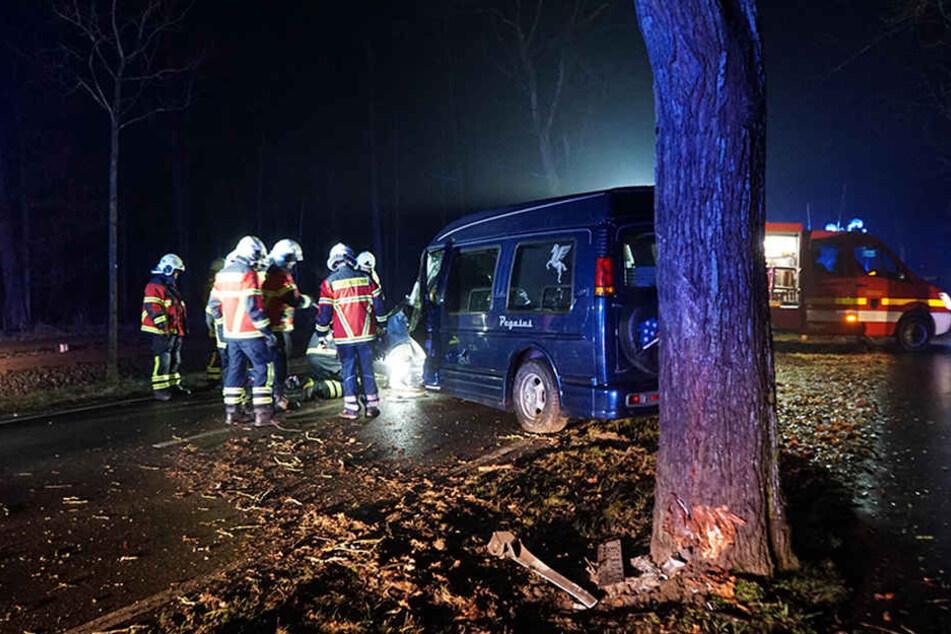 Der Van krachte gegen einem am Straßenrand stehenden Baum.