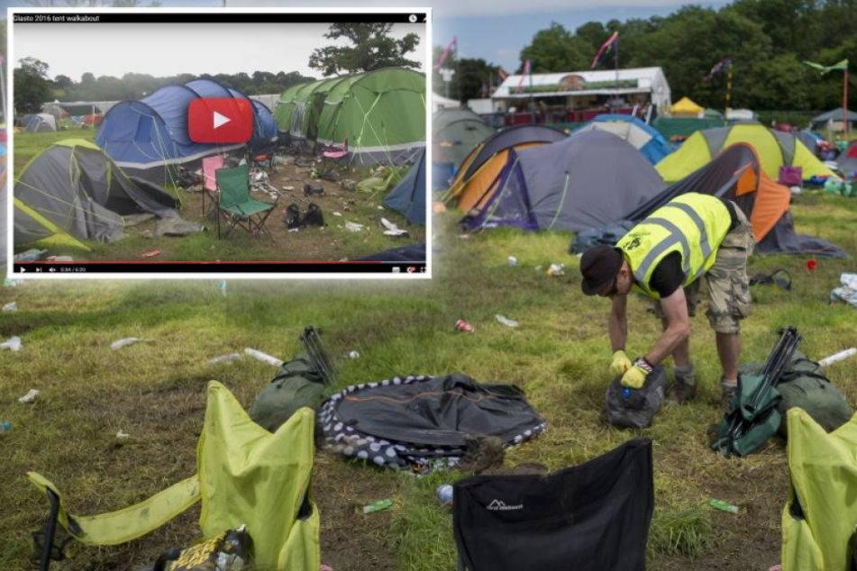 Video: Besucher hinterlassen Chaos auf Festivalgelände