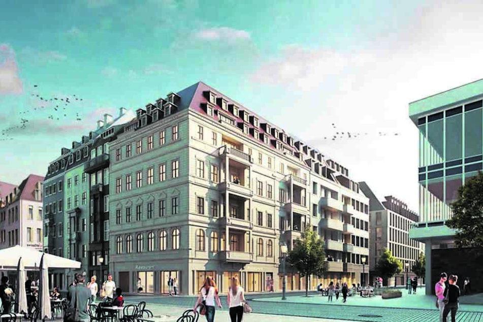 So soll das Quartier einmal aussehen. Hier ein Blick von der Schloßstraße. Rechts die Ecke gehört zum Kulturpalast.