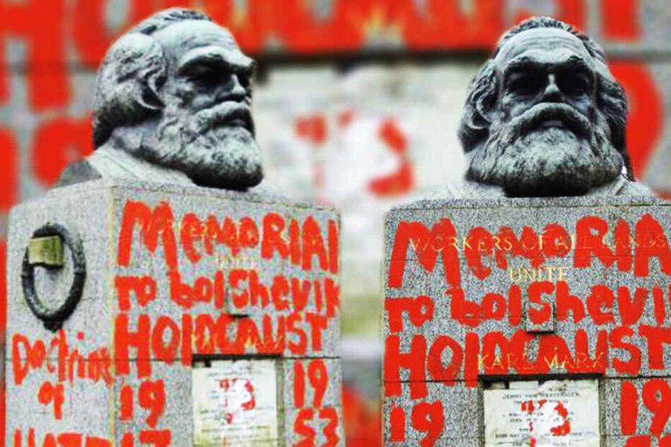 Farbanschlag! Marx-Monument geschändet