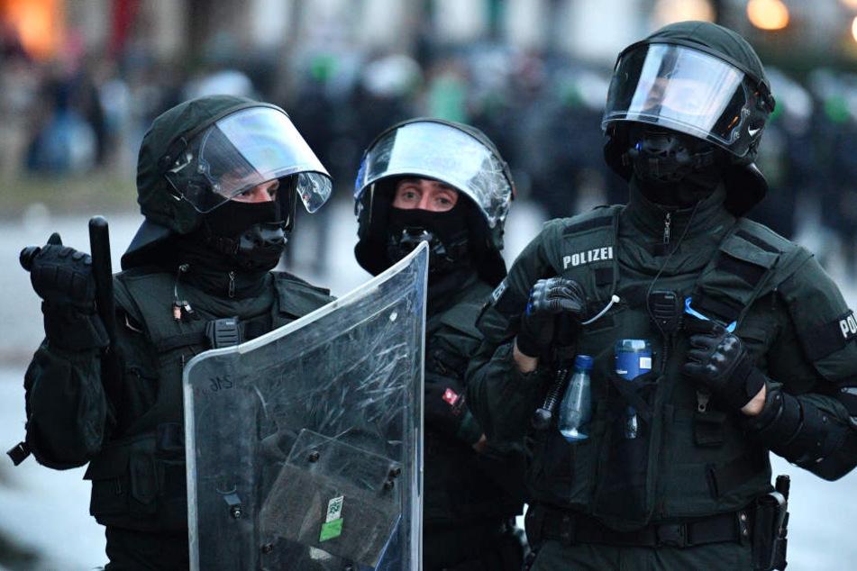 Einsatzkräfte der Polizei beim G20-Gipfel in Hamburg.