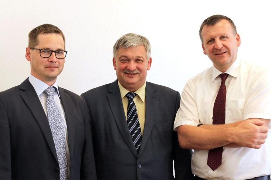 Heinrich Kohl (l.), Bürgermeister (BM) von Aue und Jens Müller, BM von Bad Schlema.