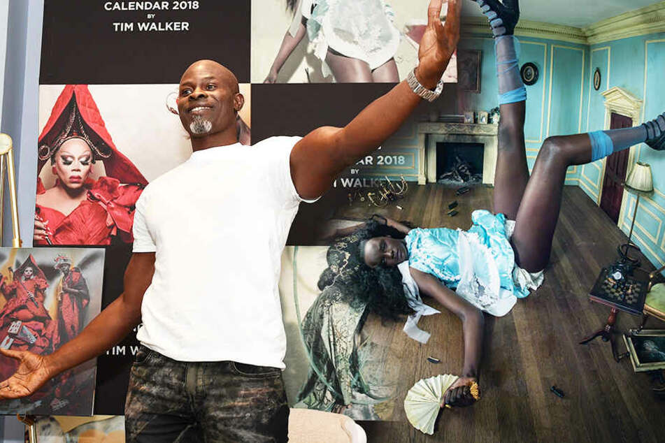 Model Djimon Hounsou bei der Präsentation des Kalenders.