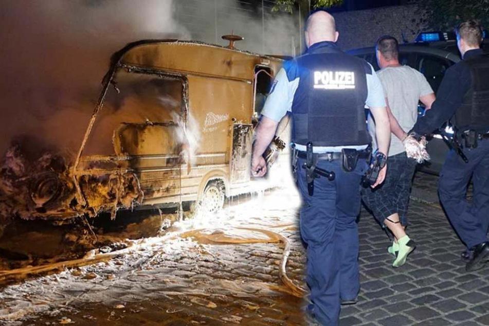 Mann bei Wohnwagenbrand festgenommen