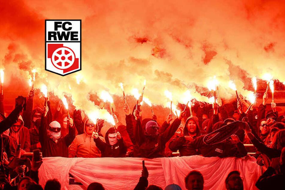 Erfurt-Fans sollen rund 20 Leuchtfackeln beim Derby gegen Hansa gezündet haben.