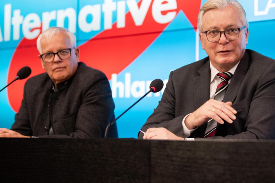 Emil Sänze (links im Bild), stellvertretender Vorsitzender der AfD-Fraktion im Landtag von Baden-Württemberg und Bernd Gögel, Vorsitzender der AfD-Fraktion im Landtag von Baden-Württemberg.