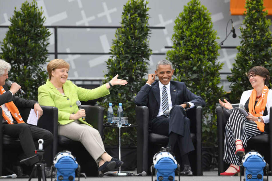 Heinrich Bedford-Strohm, Bundeskanzlerin Angela Merkel, Ex-US-Präsident Barack Obama und Kirchentagspräsidentin Christina Aus der Au (v.l.)