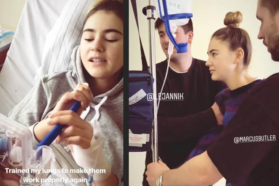 Stefanie bei ihrer Übung für die Lungen (l) und ihre ersten Schritte nach der OP.