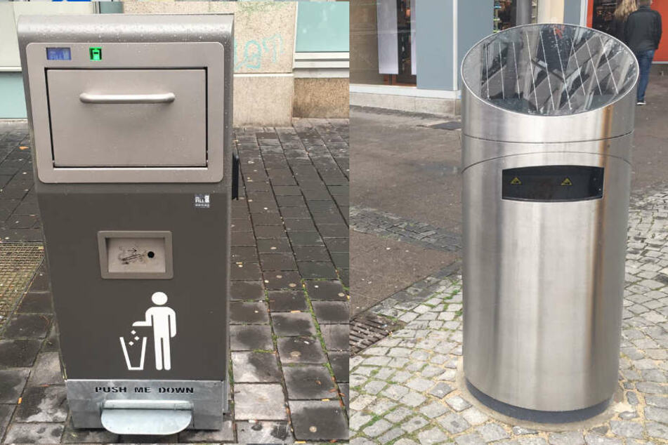 """Den Mülleimer """"Mr. Fill"""" (li.) gibt es derzeit drei Mal in Bielefeld, während es den gemieteten """"Solar-Presshai"""" nur ein Mal gibt."""