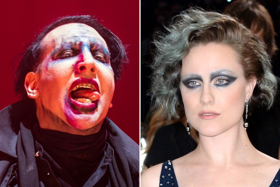 Schauspielerin Evan Rachel Wood (r., 33) wirft ihrem Ex-Freund Marilyn Manson (52) Missbrauch vor.