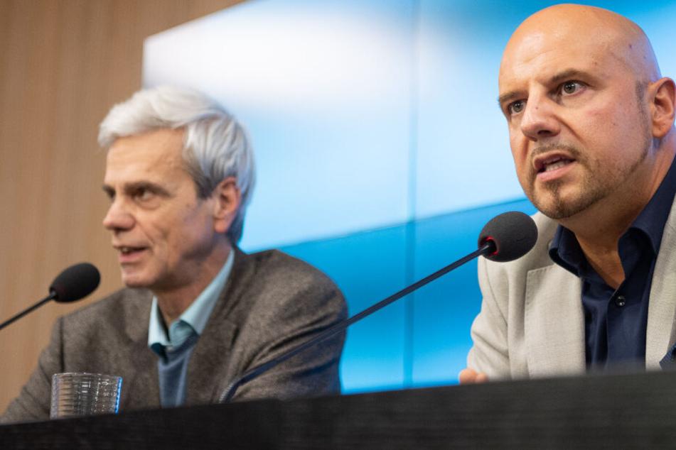 Wolfgang Gedeon (links) und Stefan Räpple am Dienstag.