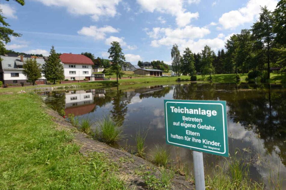 """Ein Schild mit der Aufschrift """"Teichanlage - Betreten auf eigene Gefahr. Eltern haften für ihre Kinder."""" steht an einem Teich im Ortsteil Seigertshausen."""