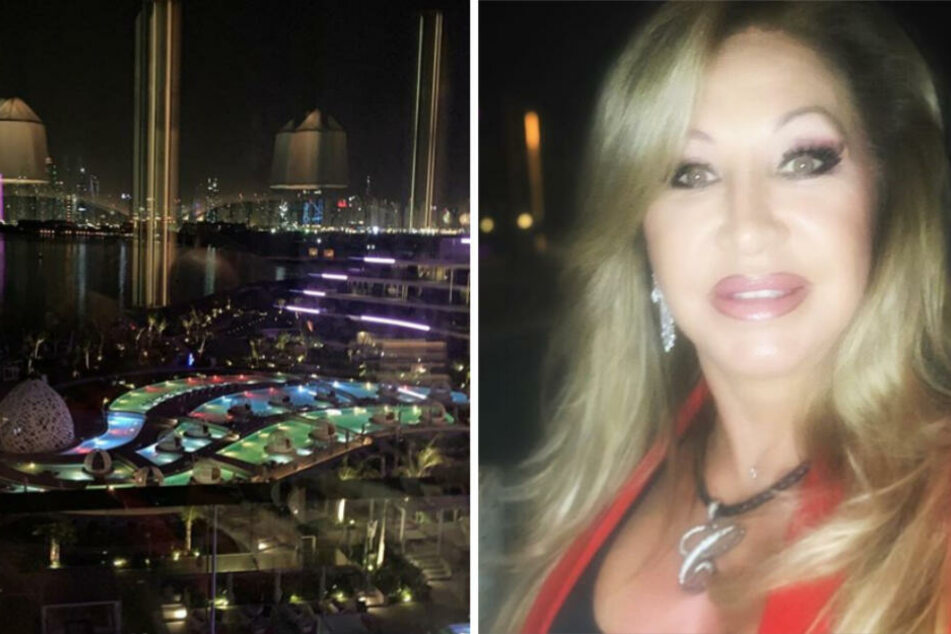 """Carmen Geiss genießt den Ausblick in der Rooftop-Bar des """"W Hotels"""" in Dubai."""