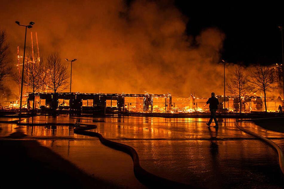 Im April 2015 brannte die historische Viehauktionshalle in Weimar lichterloh.
