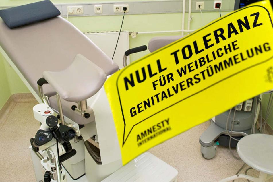 """""""Null Toleranz für weibliche Genitalverstümmelung"""" steht auf einem Flyer von Amnesty International."""