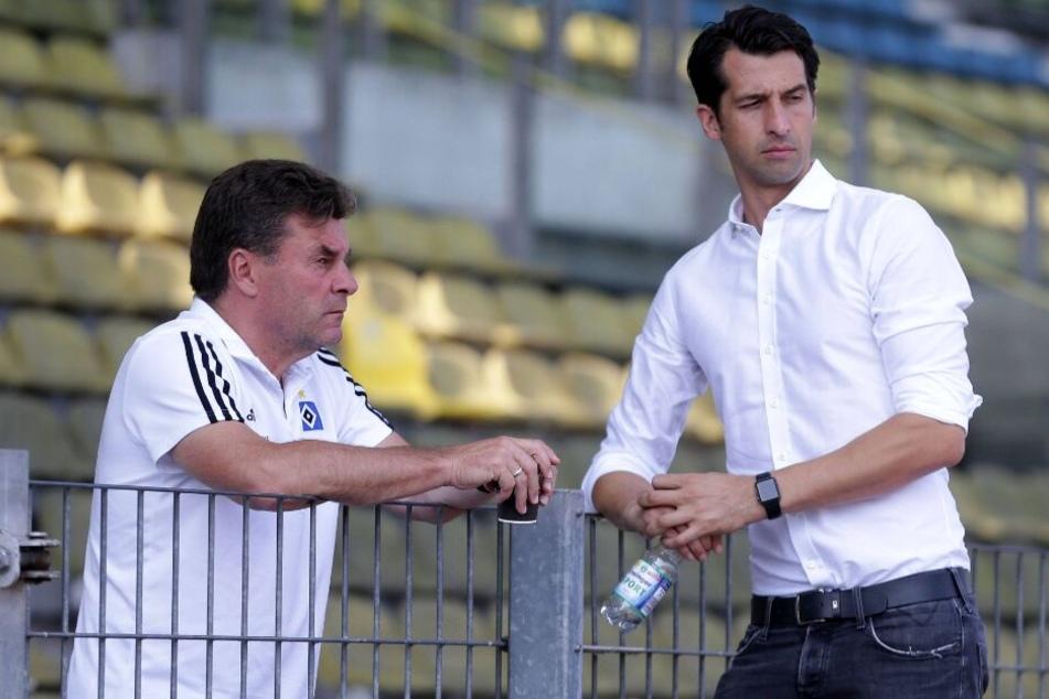 Dieter Hecking (l.) und Jonas Boldt bilden das Führungs-Duo beim HSV.