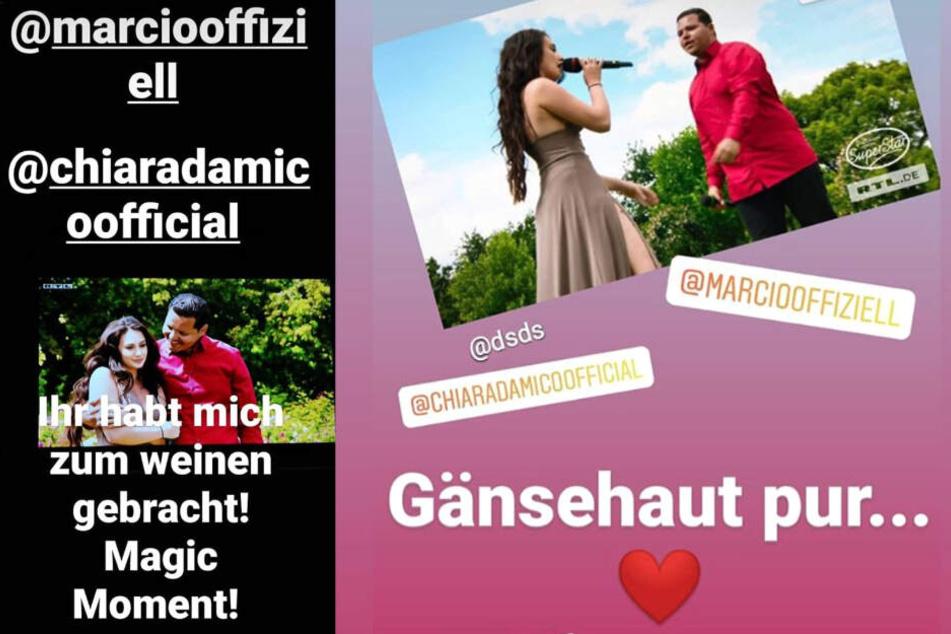 Das Bild zeigt die Screenshots zweier Instagram-Storys, welche Chiara D'Amico in der Nacht zu Sonntag teilte.