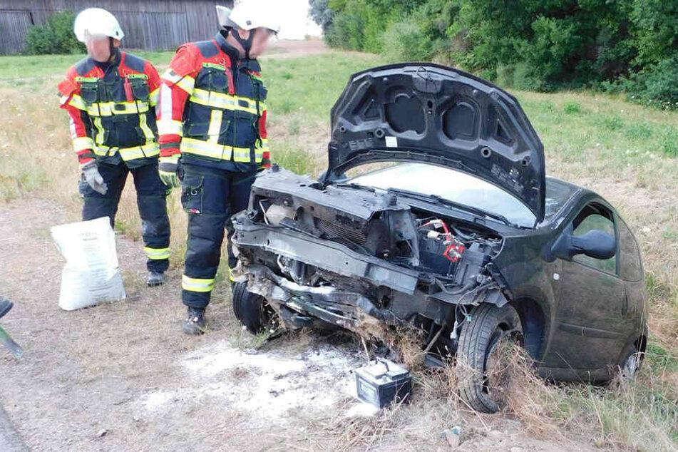 Der Renault war in den Graben geschleudert. Die Fahrerin wurde schwer verletzt.