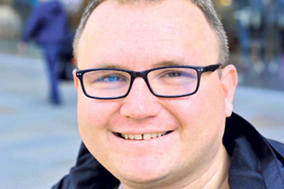 """Mathias Weidner (31) arbeitet als Diversity-Manager in Uelzen (Niedersachsen) und ist Tourist in Chemnitz: """"Ich habe bereits per Briefwahl gestimmt, und zwar für die SPD."""""""