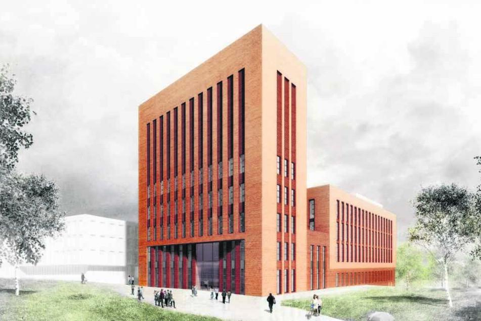 So soll der Neubau auf dem Gelände der Bergakademie Freiberg aussehen.
