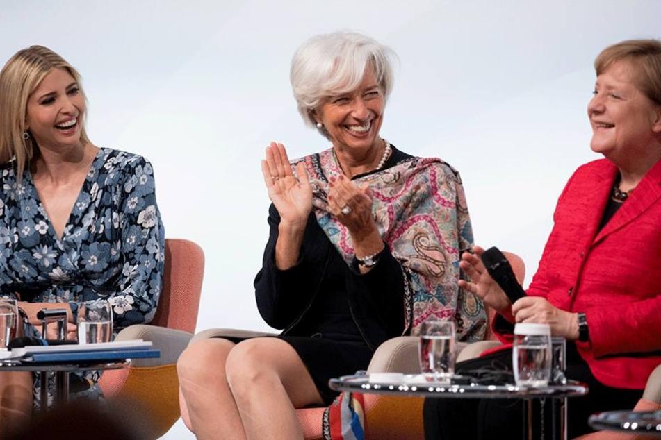 Nicht immer war die Stimmung beim W20-Gipfel so ausgelassen, wie hier zwischen Ivanka Trump (li.), IWF-Chefin Christine Lagarde und Bundeskanzlerin Angela Merkel (CDU).