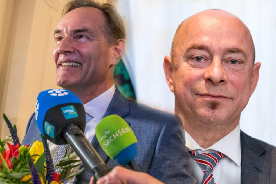 Burkhard Jung (61, SPD) habe als Zugezogener ein ganz anderes Verhältnis zur Messestadt, so Thomas Feist (54, CDU, rechts).